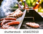 meat cooking on barbecue grill... | Shutterstock . vector #656025010