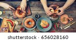 group of people dining concept | Shutterstock . vector #656028160