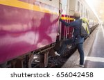 young man travel alone by train | Shutterstock . vector #656042458
