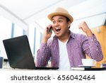 happy businessman with success... | Shutterstock . vector #656042464