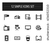set of 12 editable movie icons. ... | Shutterstock .eps vector #656052310