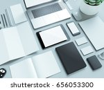 modern office workplace with... | Shutterstock . vector #656053300