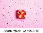 beautiful present box with red... | Shutterstock . vector #656058043