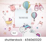 baby girl shower card. arrival... | Shutterstock .eps vector #656060320