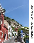 Small photo of POSITANO, ITALY - May 4, 2013: The port city of Positano has existed since Medieval times, but exists today almost entirely due to tourism as it is a jumping off point for the beautiful Amalfi Coast.