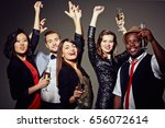 multi ethnic group of stylish... | Shutterstock . vector #656072614