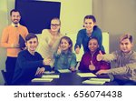 happy cheerful  classmates... | Shutterstock . vector #656074438