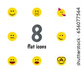 flat emoji set of laugh  joy ... | Shutterstock .eps vector #656077564
