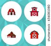 flat ranch set of warehouse ... | Shutterstock .eps vector #656081080