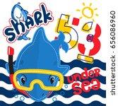 cute cartoon shark wearing... | Shutterstock .eps vector #656086960