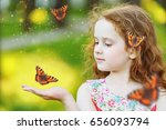 beautiful curly girl with a...   Shutterstock . vector #656093794