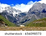 white yak stand on baishuihe... | Shutterstock . vector #656098573