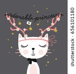 cute funny cat vector design... | Shutterstock .eps vector #656101180