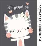 embroidery cute cat vector... | Shutterstock .eps vector #656101186