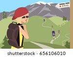 group of tourists goes on the...   Shutterstock .eps vector #656106010