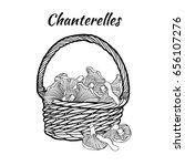 chanterelle in the basket.... | Shutterstock .eps vector #656107276