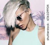 sensual blonde short hair trend ... | Shutterstock . vector #656109934