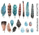 set of watercolor feathers and... | Shutterstock . vector #656114770