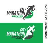 running man silhouette on... | Shutterstock .eps vector #656119093