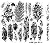 set of black doodle exotic ... | Shutterstock .eps vector #656123476