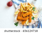 fried fish sticks with french... | Shutterstock . vector #656124718