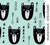 tribal bear pattern. hand drawn ... | Shutterstock .eps vector #656131660