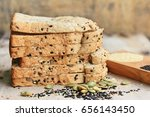 whole wheat bread and sesame | Shutterstock . vector #656143450