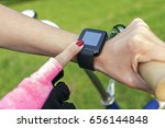 woman riding a bike with a... | Shutterstock . vector #656144848