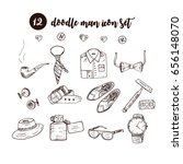 doodle vector icon set with man ...
