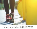 close up on female runners legs ... | Shutterstock . vector #656162098