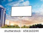 billboard canvas mock up in... | Shutterstock . vector #656163244
