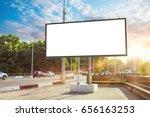 billboard canvas mock up in... | Shutterstock . vector #656163253