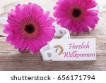 label with german text herzlich ...   Shutterstock . vector #656171794