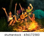 group of friends camping.they... | Shutterstock . vector #656172583