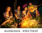 group of friends camping.they... | Shutterstock . vector #656172610