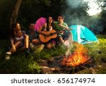 Group Of Friends Camping.they...