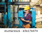pretty young technician in... | Shutterstock . vector #656176474