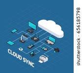 isometric wireless mobile... | Shutterstock .eps vector #656185798