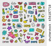 vector patch set   80s 90s... | Shutterstock .eps vector #656187718
