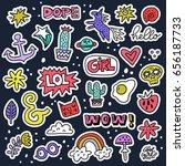set of colorful cartoon badges. ...   Shutterstock .eps vector #656187733