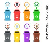 garbage cans with sorted... | Shutterstock .eps vector #656196004