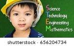 engineer boy is studying stem... | Shutterstock . vector #656204734