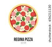 regina pizza with tomato  black ... | Shutterstock .eps vector #656211130