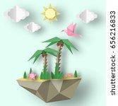 summer origami art applique.... | Shutterstock .eps vector #656216833