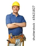 portrait of confident handyman... | Shutterstock . vector #65621827