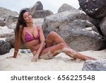 beautiful woman relaxes on a... | Shutterstock . vector #656225548