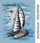 catamaran sailboat. vector...   Shutterstock .eps vector #656236966