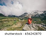 girl with red jacket looking... | Shutterstock . vector #656242870