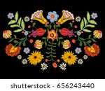 Stock vector embroidery ethnic pattern with colorful flowers vector traditional floral bouquet tribal style 656243440
