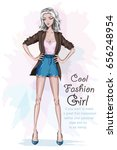 beautiful fashion girl with... | Shutterstock .eps vector #656248954